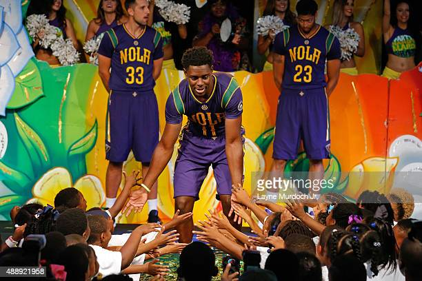 d27affd55cbd Jrue Holiday of the New Orleans Pelicans unveils the Mardi Grasthemed Pride  uniforms to be worn