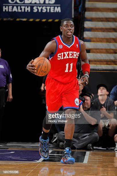 Jrue Holiday of the Philadelphia 76ers brings the ball up the court against the Sacramento Kings on March 24 2013 at Sleep Train Arena in Sacramento...