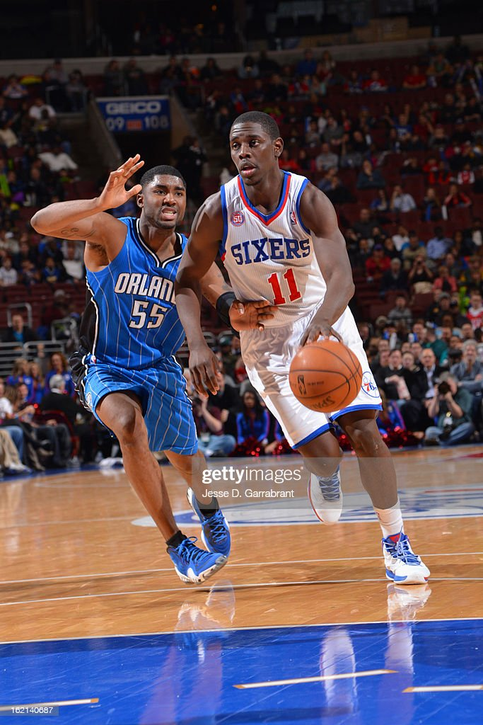 Jrue Holiday #11 of the Philadelphia 76ers drives to the basket against the Orlando Magic at the Wells Fargo Center on February 4, 2013 in Philadelphia, Pennsylvania.