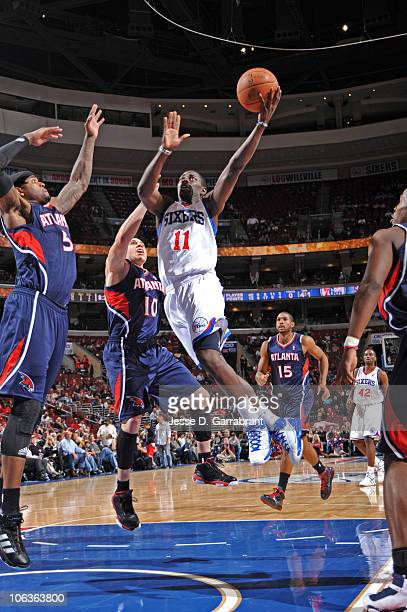 Jrue Holiday of the Philadelphia 76ers shoots against the Atlanta Hawks during the game on October 29 2010 at the Wells Fargo Center in Philadelphia...