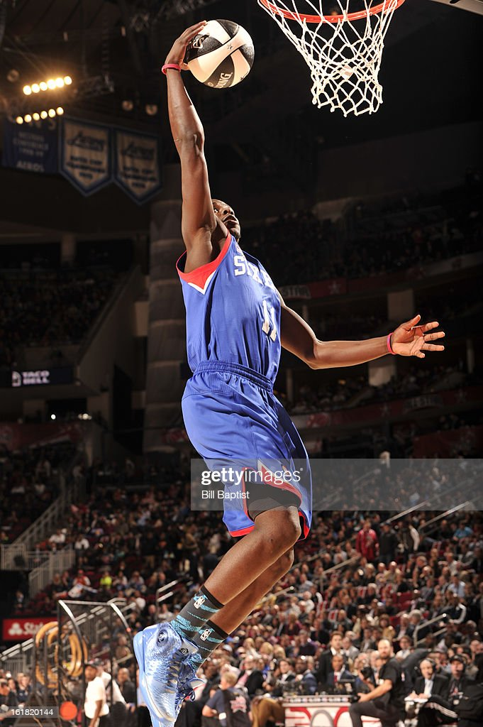 Jrue Holiday #11 of the Philadelphia 76ers shoots the ball during the 2013 Taco Bell Skills Challenge on State Farm All-Star Saturday Night as part of 2013 NBA All-Star Weekend on February 16, 2013 at Toyota Center in Houston, Texas.