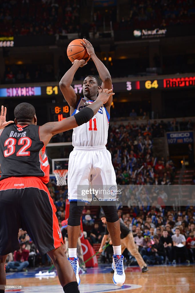 Jrue Holiday #11 of the Philadelphia 76ers takes a shot against the Toronto Raptors at the Wells Fargo Center on January 18, 2013 in Philadelphia, Pennsylvania.