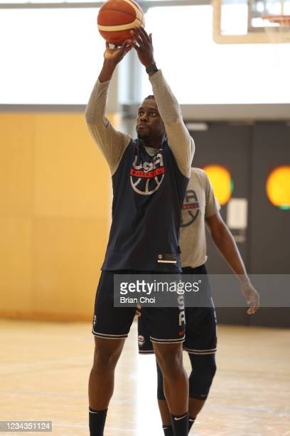 Jrue Holiday of the USA Men's National Team shoots the ball during USAB Mens National Team practice on July 29, 2021 in Tokyo, Japan. NOTE TO USER:...