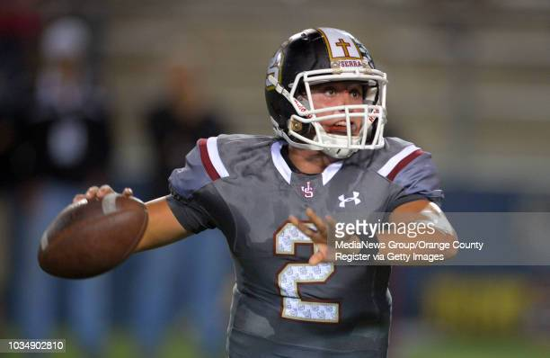 JSerra QBNick Robinson looks for a receiver at Orange Coast College in Costa Mesa CA on Friday October 17 2014 Trinity League football matchup...