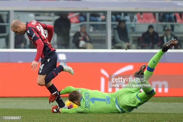 Jsse Joronen goalkeeper of Brescia Calcio saves his goal during the Serie A match between Bologna FC and Brescia Calcio at Stadio Renato Dall'Ara on...