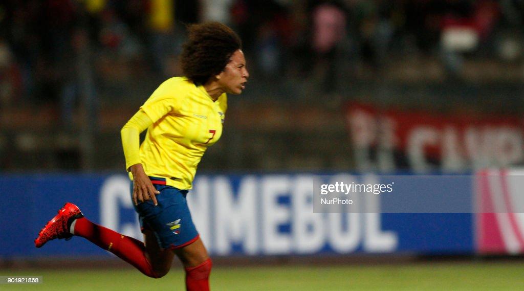 Jósselyn Espinales celebrates the goal for Ecuador during the match between Ecuador vs Argentina, played at the Fernando Guerrero Stadium by the Sudamericano female U20, in Riobamba, Ecuador, Saturday, January 13, 2018.