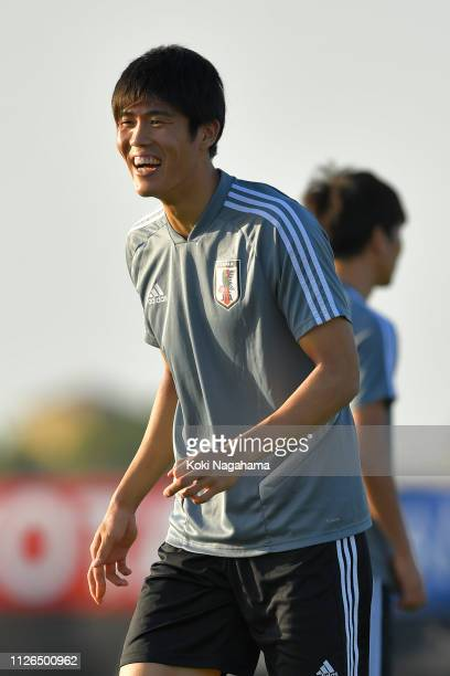 JTakehiro Tomiyasu of Japan attends the training session at Cricket training site 2 on January 31 2019 in Abu Dhabi United Arab Emirates