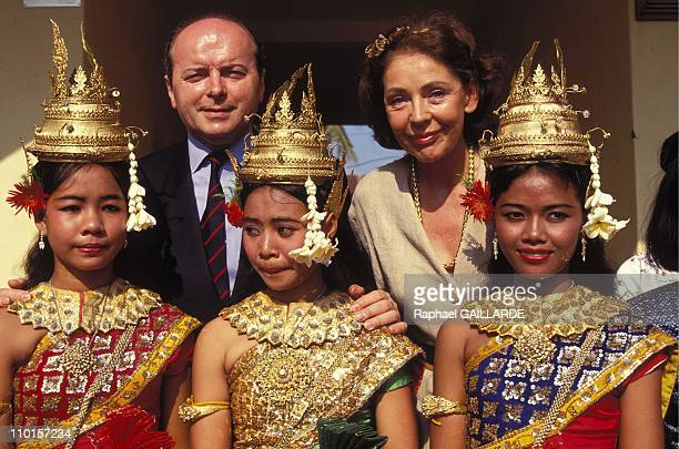 Toubon with wife Lise at Phnom Penh Royal Dance School in Phnom Penh Cambodia on April 04 1994