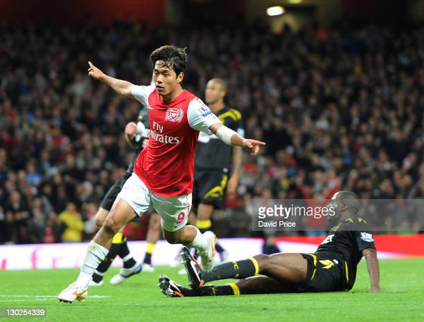 Ju Young Park of Arsenal celebrates scoring Arsenal's 2nd goal during the Carling Cup Fourth Round match between Arsenal and Bolton Wanderers at...