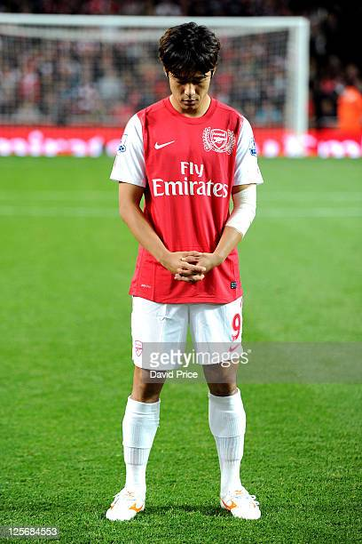 Ju Young Park of Arsenal during the Carling Cup Third Round match between Arsenal and Shrewsbury Town at Emirates Stadium on September 20 2011 in...
