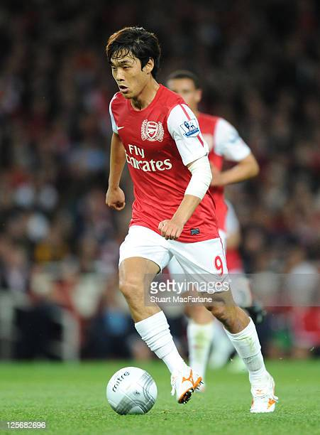 Ju Young Park of Arsenal in action during the Carling Cup Third Round match between Arsenal and Shrewsbury Town at Emirates Stadium on September 20...
