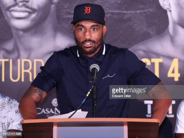 J'u2019Leon Love answers questions from members of the ng the Andre Berto v Devon Alexander Press Conference at Nassau Veterans Memorial Coliseum on...