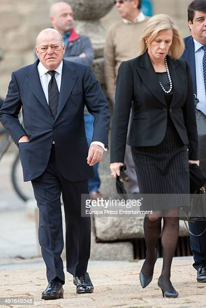Juan Abello and Ana Gamazo attend the funeral chapel for Carlos de Borbon Dos Sicilias second cousin of King Juan Carlos and Duke of Calabria at el...