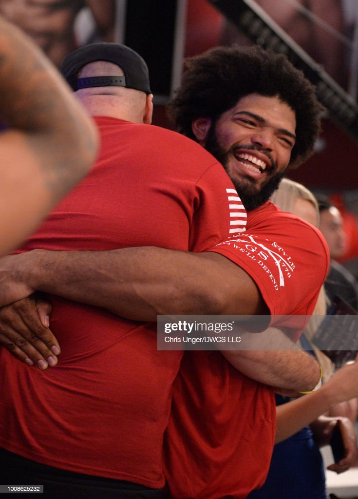 Juan Adams celebrates after being awarded a UFC contract during Dana White's Tuesday Night Contender Series at the TUF Gym on July 31, 2018 in Las Vegas, Nevada.