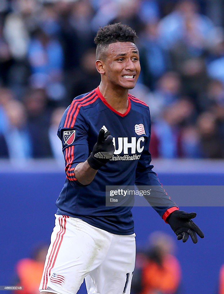 Juan Agudelo #17 of New England Revolution reacts in the first half against the New York City FC during the inaugural game of the New York City FC at Yankee Stadium on March 15, 2015 in the Bronx borough of New York City.