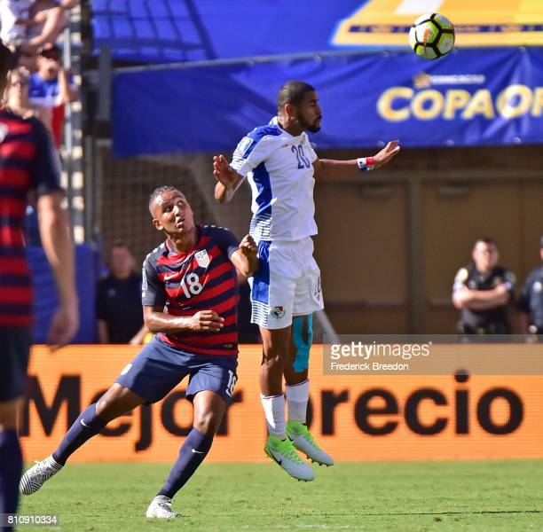 Juan Agudelo of USA defends Anibal Godoy of Panama during the second half of a CONCACAF Gold Cup Soccer match at Nissan Stadium on July 8 2017 in...