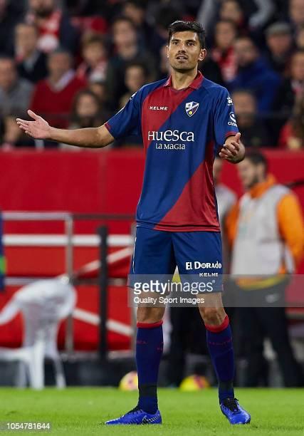 Juan Aguilera of Huesca reacts during the La Liga match between Sevilla FC and SD Huesca at Estadio Ramon Sanchez Pizjuan on October 28 2018 in...