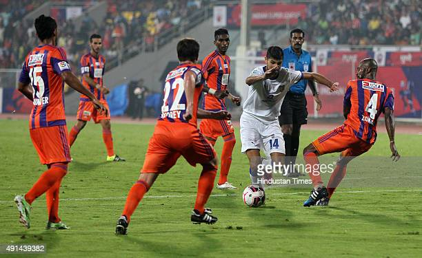 Juan Aguilera of Mumbai City FC takes a shot against FC Pune City during the Indian Super League match at Shree Shiv Chhatrapati Sports Complex...