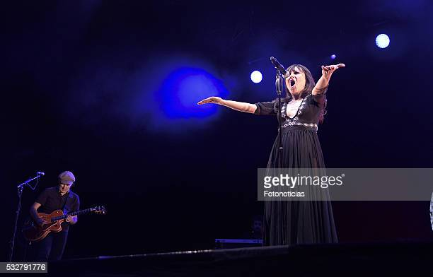 Juan Aguirre and Eva Amaral of Amaral perform at the Barclaycard Center on May 19 2016 in Madrid Spain