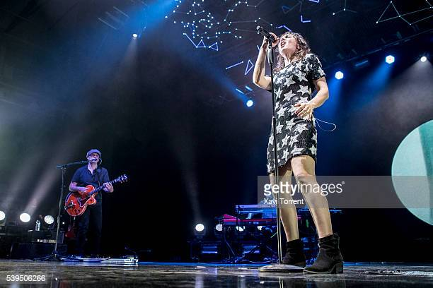 Juan Aguirre and Eva Amaral of Amaral perform in concert at Sant Jordi Club during the Guitar BCN 2016 on June 11 2016 in Barcelona Spain