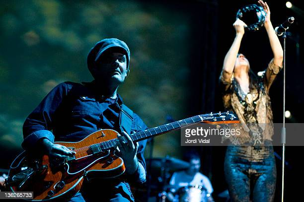 Juan Aguirre and Eva Amaral of Amaral perform on stage during FNAC Music Festival at Palau Sant Jordi on December 29 2011 in Barcelona Spain