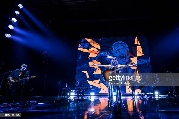 Juan Aguirre and Eva Amaral of Amaral performs on stage at Coliseum A Coruña on November 2 2019 in A Coruna Spain