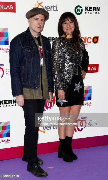 Juan Aguirre and Eva Amaral of music band Amaral attend 'La Noche de Cadena 100' at the Palacio de los Deportes on March 25 2017 in Madrid Spain