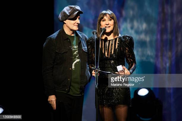 Juan Aguirre and Eva Amaral present the Best Video Odeon Award at Royal Theater on January 20 2020 in Madrid Spain