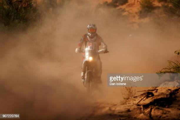 Juan Agustin Rojo of Argentina and Chilecito Rally rides a KTM EXC 450 bike in the Classe 22 Marathon during stage thirteen of the 2018 Dakar Rally...