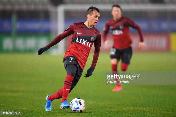 Juan Alano of Kashima Antlers in action during the AFC Champions League play-off between Kashima Antlers and Melbourne Victory at Kashima Soccer...