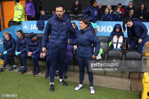 Juan Amoros and Tottenham Hotspur Coach Karen Hills during the Barclays FA Women's Super League match between Tottenham Hotspur and Manchester United...