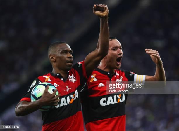 Juan and Rever of Flamengo celebrate a scored goal during a match between Flamengo and Cruzeiro part of Copa do Brasil 2017 Finals at Maracana...