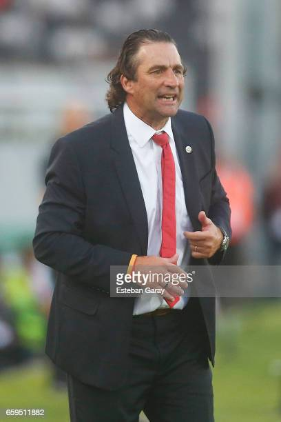 Juan Antonio Pizzi coach of Chile gestures during a match between Chile and Venezuela as part of FIFA 2018 World Cup Qualifier at Monumental Stadium...