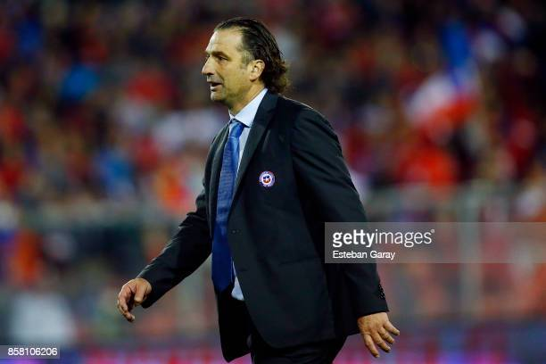 Juan Antonio Pizzi coach of Chile gestures during a match between Chile and Ecuador as part of FIFA 2018 World Cup Qualifier at Monumental Stadium on...