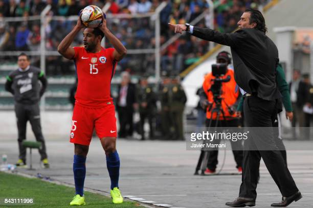 Juan Antonio Pizzi coach of Chile gives instructions to his players during a match between Bolivia and Chile as part of FIFA 2018 World Cup...