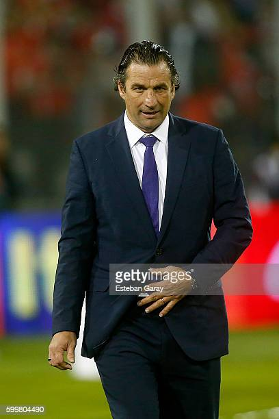 Juan Antonio Pizzi coach of Chile leaves the field after a match between Chile and Bolivia as part of FIFA 2018 World Cup Qualifier at Monumental...