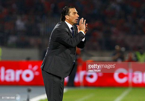 Juan Antonio Pizzi coach of Chile shouts instructions to his players during a match between Chile and Argentina as part of FIFA 2018 World Cup...