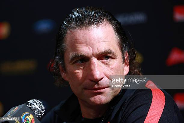 Juan Antonio Pizzi coach of Chile talks during Chile press conference at Metlife Stadium on June 25 2016 in East Rutherford New Jersey United States