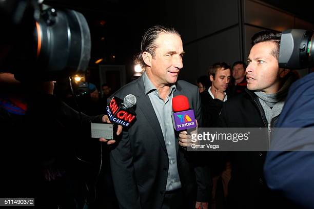 Juan Antonio Pizzi coach of Chile talks to the media during the reception prior Centenary America Cup 2016 at Westin Hotel on February 20 2016 in New...