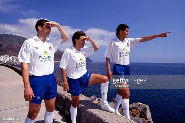 Juan Antonio Pizzi Diego Latorre and Tono Hernandez of Tenerife during photo shooting in Tenerife on March 14th 1993