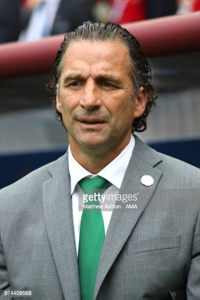 Juan Antonio Pizzi head coach / manager of Saudi Arabia looks on prior to the 2018 FIFA World Cup Russia group A match between Russia and Saudi...