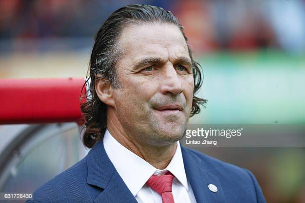 Juan Antonio Pizzi head coach of Chile national football team looks on during the final match of 2017 Gree China Cup International Football...