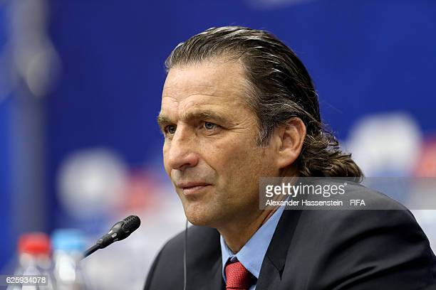 Juan Antonio Pizzi head coach of Chile national football team talks to the media during a press conference after the Official Draw for the FIFA...