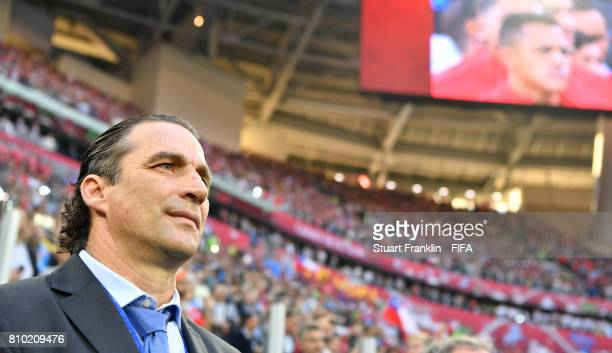 Juan Antonio Pizzi head coach of Chile ponders during the FIFA Confederations Cup Russia 2017 Final match between Chile and Germany at Saint...