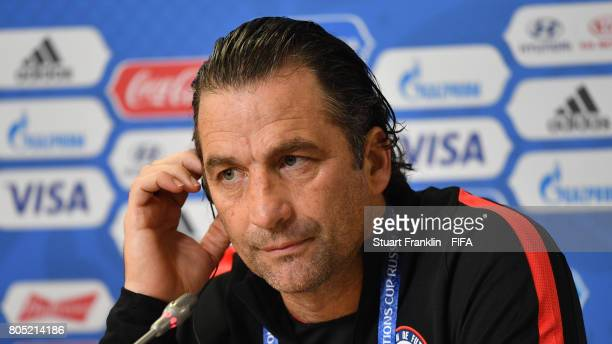 Juan Antonio Pizzi head coach of Chile speaks to the media during a press conference of the Chiliean national football team on July 1 2017 in Saint...