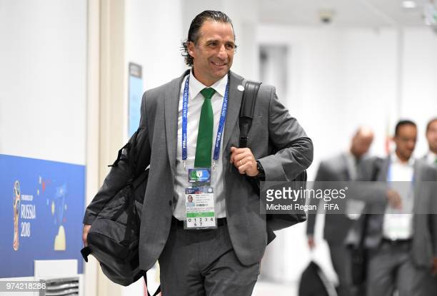 Juan Antonio Pizzi Head coach of Saudi Arabia arrives at the stadium prior to the 2018 FIFA World Cup Russia Group A match between Russia and Saudi...