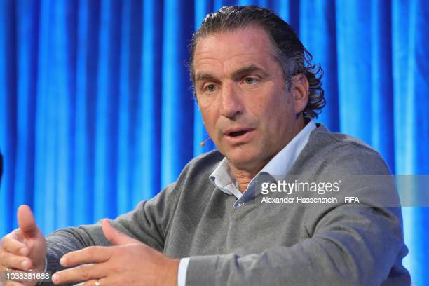 Juan Antonio Pizzi head coach of Saudi Arabia attends a podium discussion during the FIFA Football Conference at JW Marriott Grosvenor House Hotel on...