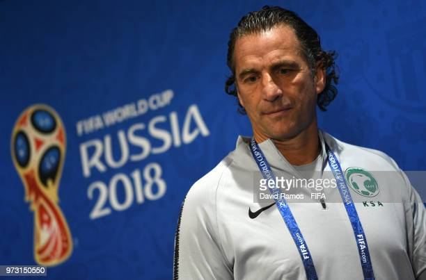 Juan Antonio Pizzi Head coach of Saudi Arabia attends a Saudi Arabia press conference ahead of the 2018 FIFA World Cup opening match against Russia...