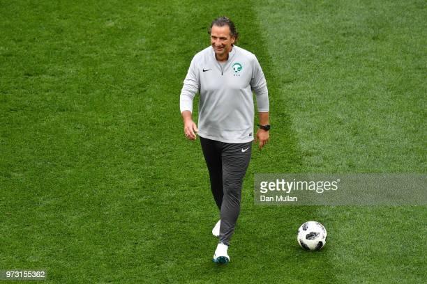 Juan Antonio Pizzi Head coach of Saudi Arabia during a Saudia Arabia training session ahead of the 2018 FIFA World Cup opening match against Russia...