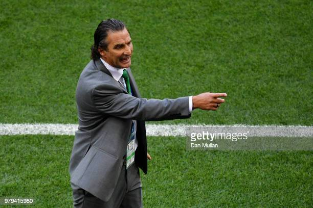 Juan Antonio Pizzi Head coach of Saudi Arabia gestures during the 2018 FIFA World Cup Russia group A match between Uruguay and Saudi Arabia at Rostov...